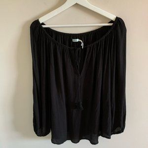 Urban Outfitters Flowy Black Off The Shoulder Top